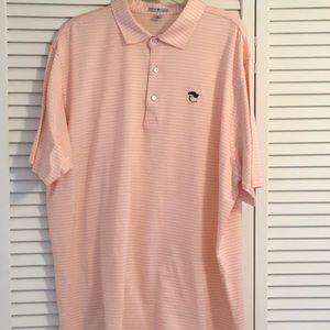 Peter Millar golf shirt peach /pink stripe XL